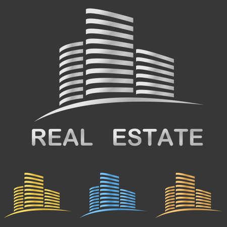 bienes raices: Estilo metálico inmobiliario logo vector plantilla de diseño Vectores