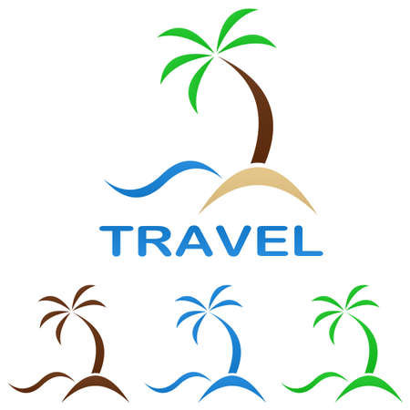 wave tourist: Travel logo design template - beach, palm tree, sea