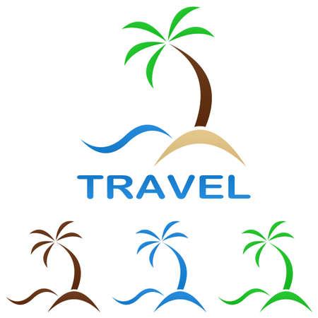 Travel logo design template - beach, palm tree, sea
