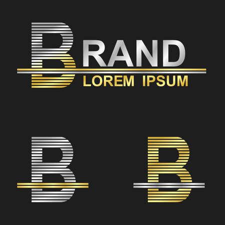 metallic: Metallic business font design - letter B brand Stock Illustratie