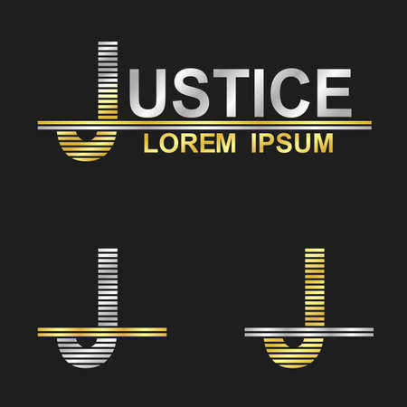 write a letter: Metallic business symbol font design - letter J justice Illustration