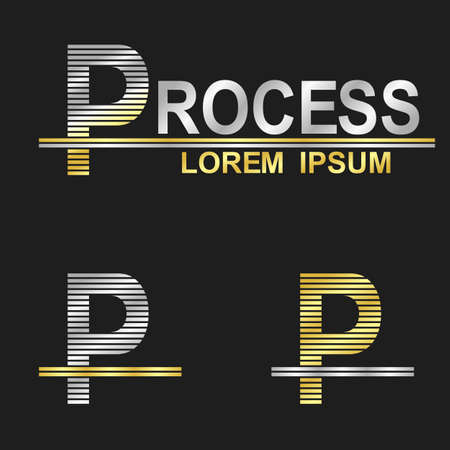 metal letter: Metallic business logo font design - letter P (process) Illustration