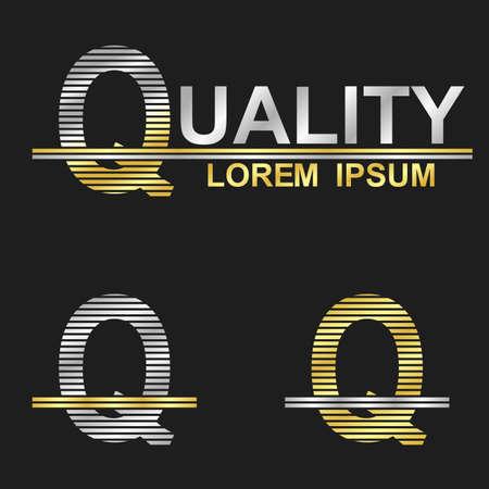 letter q: Metallic business font logo design - letter Q (quality) Illustration