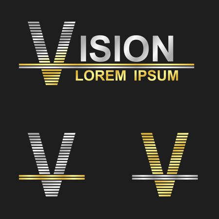 business symbol: Metallic business symbol font design - letter V (vision)