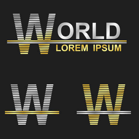 business symbol: Metallic business symbol font design - letter W (world) Illustration