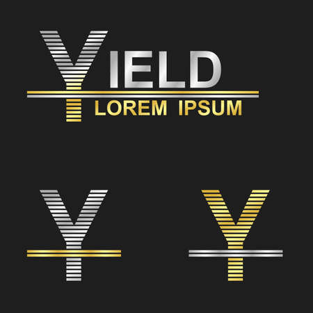yield sign: Metallic business symbol font design - letter Y (yield)