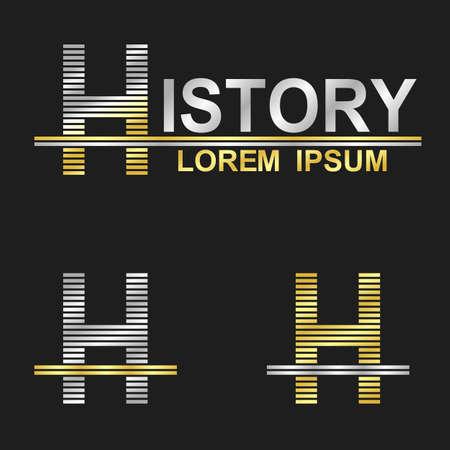 h: Metallic business symbol font design - letter H history