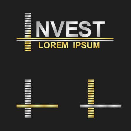 letter i: Metallic business symbol font design - letter I invest