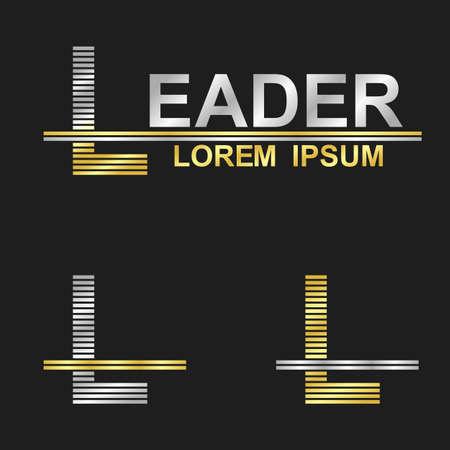 L: Metallic business symbol font design - letter L (leader)