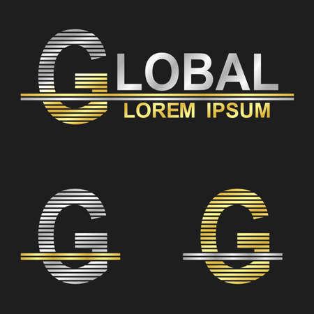 metallic: Metallic business symbol font design - letter G global Stock Illustratie