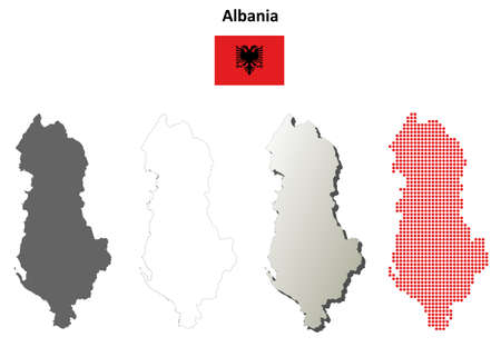 state boundary: Albania outline map set