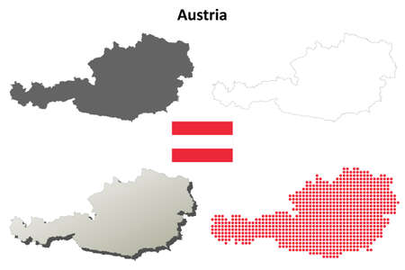 austria: Austria outline map set