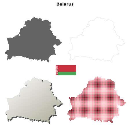 belarus: Belarus otline map set Illustration