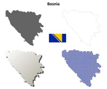 herzegovina: Bosnia and Herzegovina outline map set Illustration