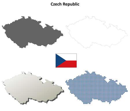 czech: Czech Republic outline map set