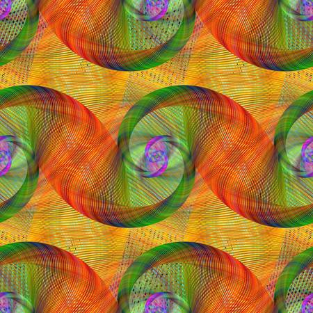 green swirl: Orange and green seamless swirl fractal pattern