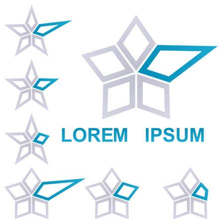 estrella azul: Grey and blue star symbol icon design set Vectores