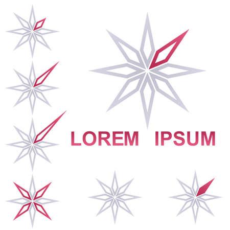 crimson: Crimson and grey star corporate symbol design set