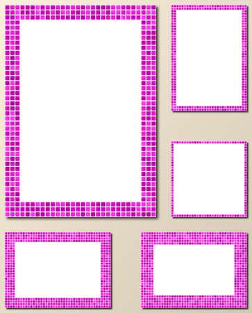bits: Magenta pixel mosaic page border frame set