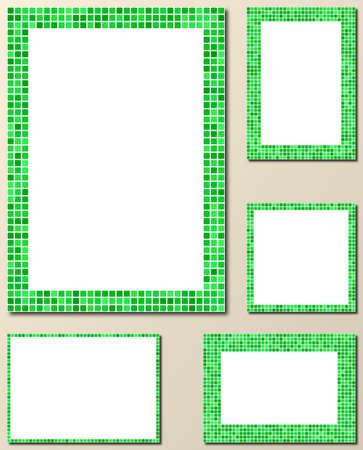 bordure de page: Green pixel mosaic page border frame set