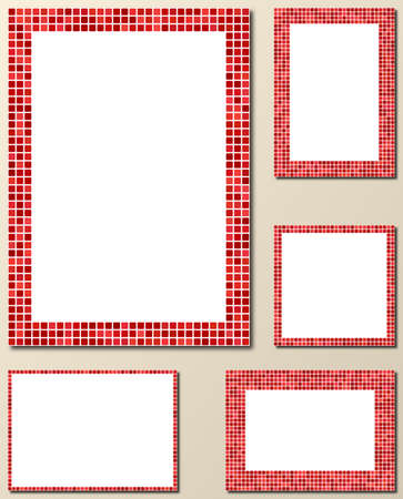 bits: Red pixel mosaic page layout border template set