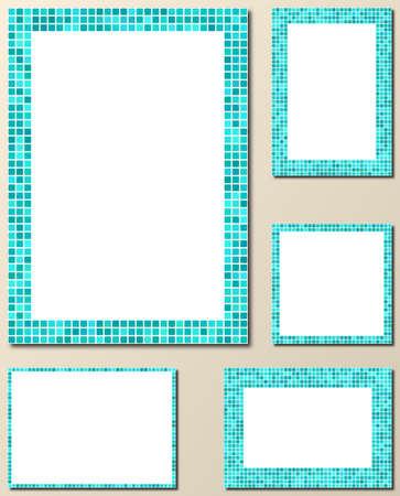 page layout: Light blue pixel mosaic page layout border template set