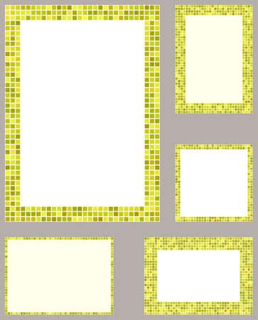 page layout: Yellow pixel mosaic page layout border template set Illustration