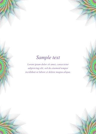 bordure de page: Fractale ornement page mod�le de conception de bordure color�e Illustration