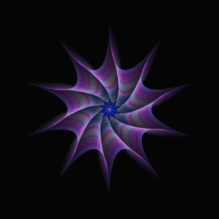 twisted: Purple abstract twisted fractal design from concentric stars