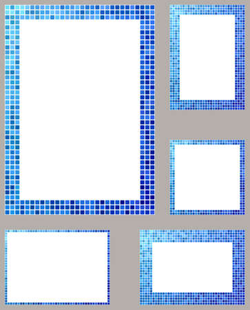 square frame: Light and dark blue pixel mosaic page border frame set