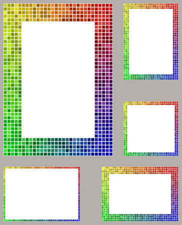 borders abstract: Yellow, red, green and blue pixel mosaic page border frame set Illustration