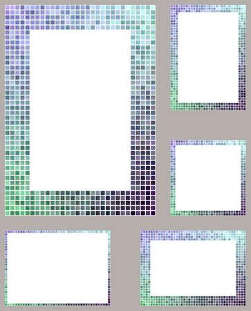 border frame: Cold color pixel mosaic page border frame set