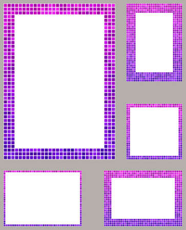 page borders: Pink and purple pixel mosaic page layout border template set Illustration