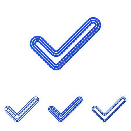 Blue line check mark logo design set