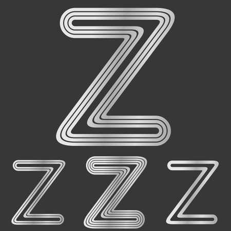 letter z: Silver line z letter logo design set