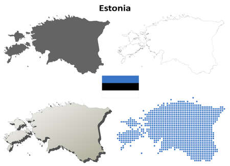 state boundary: Estonia blank detailed vector outline map set