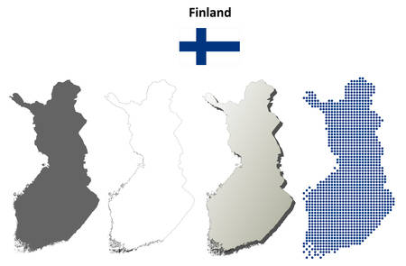 suomi: Finland blank detailed vector outline map set Illustration