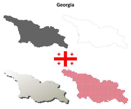 coastlines: Georgia blank detailed vector outline map set