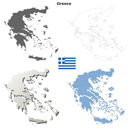 greece: Greece blank detailed vector outline map set