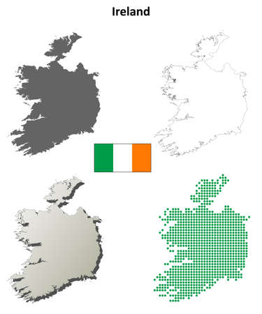 coastline: Ireland outline map set