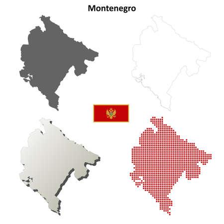 montenegro: Montenegro outline map set
