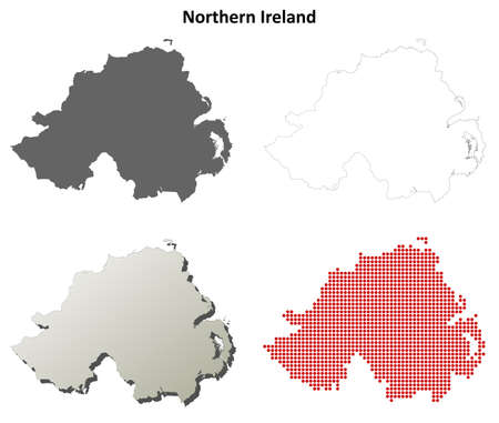 detailed: Northern Ireland blank detailed outline map set