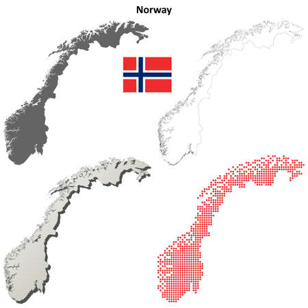 norwegian flag: Norway blank detailed outline map set