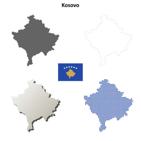 state boundary: Kosovo outline map set