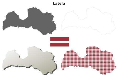 latvia: Latvia outline map set