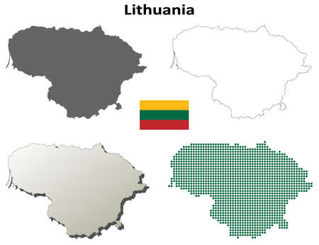 lithuania: Lithuania outline map set