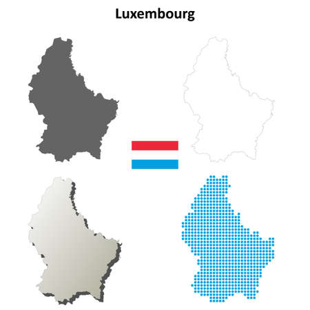 luxembourg: Luxembourg outline map set
