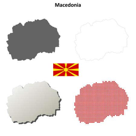 macedonia: Macedonia outline map set Illustration