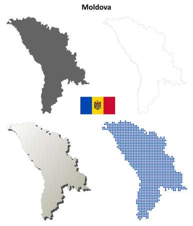 moldova: Moldova outline map set