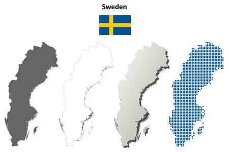 Sweden outline map set Ilustrace